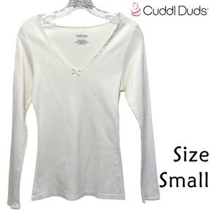 Cuddl Duds White Long Sleeve PJ Top Size Small